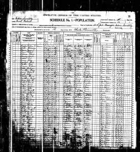 1900 US Federal Census-Township 1, 2, and 3, Creek Nation, Indian Territory
